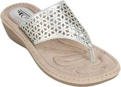 Cliffs by White Mountain Women's Caviar Thong Wedge Sandal Silver/Metallic Smooth Synthetic Size 6.5 M, Grey
