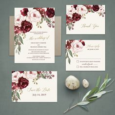 Floral Watercolor Wedding Invitations Burgundy Wine Gold Blush Floral  Set on an elegant cream background, this boho chic floral wedding invitation boasts a collection of blush, marsala, burgundy and wine florals cascading along invite. Greenery completes the design. We have also added elegant lettering to complete the design. As you can see, complimenting accessories with the same floral and sparkly gold gorgeousness are also in the store.