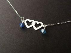 Interlocking Hearts Birthstones Necklace, Couple Love Necklace, Sterling Silver, Birthstone Necklace, Girldfriend Boyfriend Gift