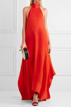 Tomato-red viscose-blend Ties at neck, concealed hook and zip fastening at back viscose, linen, rayon Dry clean My Boutique, Top Designer Brands, Classy And Fabulous, Diane Von Furstenberg, Evening Gowns, Fashion Online, Formal Dresses, Long Dresses, Maxi Dresses
