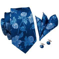 Blue Floral Men's Necktie Pocket Square Cufflinks Set – ties2you