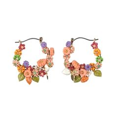 Les Nereides Flowers small hoops earrings
