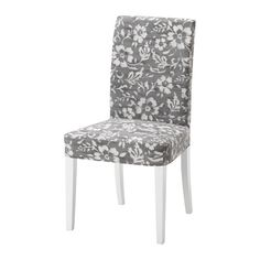 IKEA - HENRIKSDAL, Chair, Hovsten gray/white, -, , The chair legs are made of solid wood, which is a durable natural material.The washable cover to HENRIKSDAL chair frame is easy to put on and take off.You sit comfortably thanks to the high back and seat with polyester wadding.