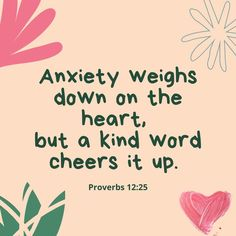 Proverbs 12, Life Motto, Kind Words, Anxiety, Cheer, Humor, Motto, Cute Words, Stress
