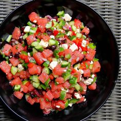 Herbed Watermelon Salad with Feta and Lime Vinaigrette:   EXCELLENT!!!  (Did not add jalapeno.)  No changes needed, except maybe yellow bell pepper for red to add another color.