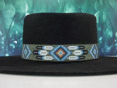 Native American Beaded Patina Diamond Feather Hat Band