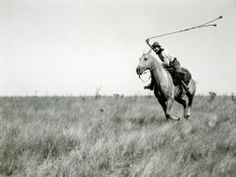 """""""A ranch hand, equivalent of the old gaucho, rides after an ostrich, swinging three-thonged and weighted baleadoras. Note how only the toe of the boot is in the stirrup iron. In old times, the gaucho often rode with only the great toe of the bare foot in a metal ring."""" -Luis Marde, American photographer and explorer.  Gaucho on Horseback, Argentina Photograph by Luis Marden  #argentina #baleadoras #gaucho #explorers #travels #beautifuldestinations #escape #manoftheworld #adventures #cowboys"""