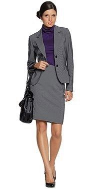 Gray skirt suit #interviewoutfit | Professional Dress: Women