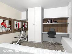 Home office, sala de ginástica e quarto de hóspedes ao mesmo tempo. http://dicasdearquitetura.com.br/quarto-3-em-1-academia-hospedes-e-escritorio/