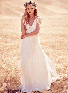 Bröllopsklänningar - $142.69 - A-linjeformat V-ringning Court släp Chiffong Bröllopsklänning med Applikationer Spetsar (0025093726)