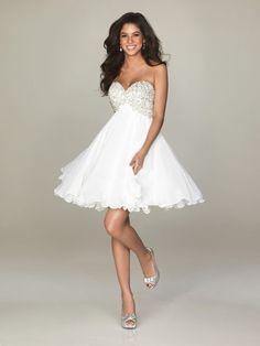 Princess Herzform Kurz Chiffon Partykleid Weiß mit Perlen