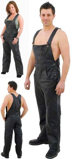 Classic style black leather bib overalls with two front and two rear pockets, large bib, adjustable shoulder straps and soft nylon lining. Leather Overalls, Mens Leather Pants, Black Overalls, Leather Skin, Biker Leather, Bib Overalls, Dungarees, Black Leather, Motorcycle Wear