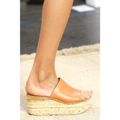 Chloé | Camille leather cork wedge mules