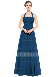 Empire Halter Floor-Length Ruffle Zipper Up Regular Straps Sleeveless No Pearl Pink Spring Summer Fall General Plus Chiffon Bridesmaid Dress