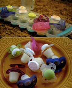 "Make ""momsicles"" for your teething baby by freezing pacifiers in breast milk."