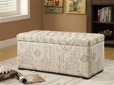 Ave Six Sahara Tufted Script Fabric Storage Bench