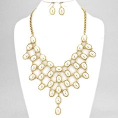Gold and Faux Pearl Oval Drop Necklace Set