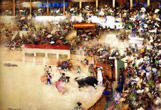 The Athenaeum - The Little Bullfight: 'Bravo Toro' (Arthur (1888-1889) Victoria and Albert Museum - London Painting - watercolorMelville - )