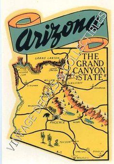 VINTAGE ARIZONA GRAND CANYON STATE MAP SOUVENIR TRAVEL LUGGAGE WINDSHIELD DECAL