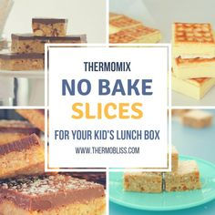 Slices are an easy addition to any lunch box. This collection of no bake Thermomix slice recipes for your kid's lunch box can't get much simpler! Lunch Box Recipes, Snack Recipes, No Bake Slices, Thermomix Recipes Healthy, Healthy Treats, Yummy Snacks, My Favorite Food, Baking Recipes, Hot