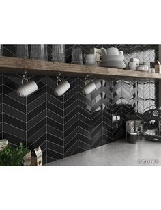 CHEVRON NERO GLOSS 5.2X18.6 L - SQM - Wall Tiles - Tiles - Our Products