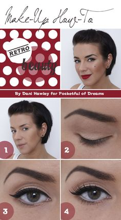 Beauty, Bridal make-up, Vintage make-up, Vintage InspiredDani Hawley, Fashion, Vintage Beauty, How to get the perfect flick, Make-Up Artist North-West, Makeup Trends, Party Looks, Pocketful of Dreams, Retro Makeup, Styling, Wedding Beauty, Winged Eyeliner (2)
