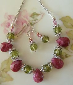 Pink / Raspberry and Green Crystal Beaded Necklace Set ,