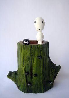 Princess Mononoke Tree Spirit Teak Wood Vase