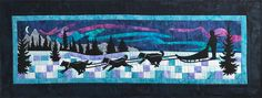 Aurora Run is the quilt in a series of scenic row quilts designed by Marie Noah, inspired by the Row by Row Experience 2017 Quilting Projects, Quilting Designs, Quilting Ideas, Wildlife Quilts, Laser Cut Fabric, Row By Row Experience, Strip Quilts, Quilt Blocks, Applique Fabric