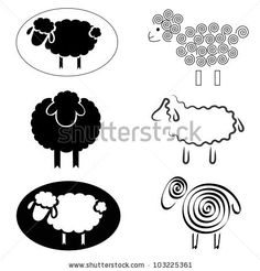 black silhouettes of sheep on a white background by vip2807, via ShutterStock