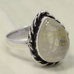 925 Silver Plated GOLDEN RUTILE QUARTZ Gemstone Ring Size US 8 Tribal Jewelry   #Unbranded
