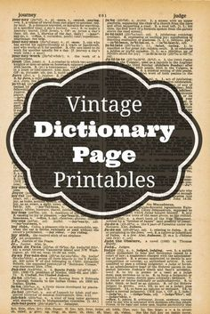 Vintage Dictionary Page Printables - Knick of Time