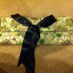Folding changing mat. Used a towel and wash cloth with ribbon.