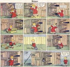 """Skippy (1925 – 1944) by Percy L. Crosby  Originally a series in the cartoon magazine """"Life,"""" it was well received enough to move to King Features in 1925. Skippy was a curious little boy always getting into and out of trouble, playing ball with friends and generally doing the things kids do. The strip also had a quiet, cerebral side to it. Crosby's Skippy is said to have influenced young Charles M. Schulz. Two hit movies based on Skippy starring Jackie Cooper appeared in the 1930s."""