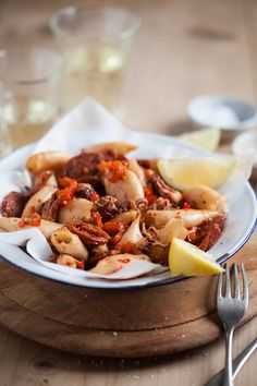 Baby calamari pan fried with chorizo and red pepper - Drizzle & Dip