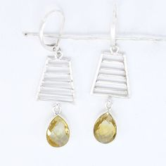 Classic Design Citrine #Gemstone 925 #Sterling #Silver #Earring by Devmukti Jewels @ Etsy.com