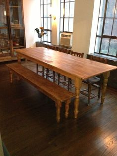 Handmade 8 Foot Wood Farm Dining Table And Bench