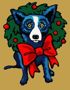 """Happy Holidays with EVERGREEN JOY - A silkscreen by George Rodrigue"""