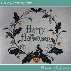Halloween Wreath – Cross stitch chart – PDF Pattern – Instant Download |