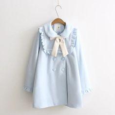Japanese Mori Girl Bow Kawaii Sweet Lolita Long Sleeve Loose Long Dress Coat | eBay