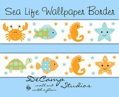 Sea Life wallpaper border wall decals for baby fish and ocean animal creatures nursery decor. Includes a crab, fish, sea horse, star fish, and sea turtle. #decampstudios