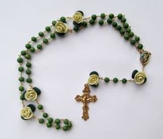 Guardian Angel Rosary/St.Micheal Rosary, clay, handmade, green and gold