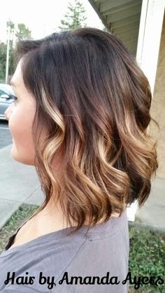 www.facebook.com/hairbyamandaayers brunette  brown blonde golden balyage ombre short hair color