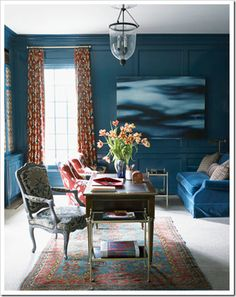 peacock blue walls - for the dining room? Blue Rooms, Blue Walls, Color Walls, Color Azul Rey, New Paint Colors, Just Dream, White Bedding, Color Of The Year, My New Room
