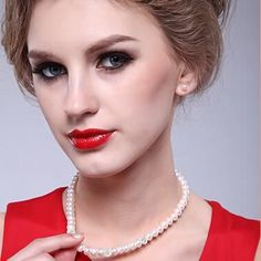 Pearl Necklace 925 Sterling Silver Jewelry For Women 8-9mm Crystal Ball Natural Freshwater