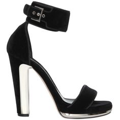 Alexander Mcqueen Women 120mm Velvet Sandals With Metal Detail ($885) ❤ liked on Polyvore featuring shoes, sandals, black, black high heel sandals, kohl shoes, velvet shoes, alexander mcqueen sandals and high heel shoes