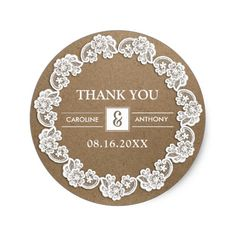 Elegant White Lace Frame design with Kraft Paper effect background personalized Wedding Thank You Stickers. Matching Wedding Invitations, Bridal Shower Invitations, Save the Date Cards, Wedding Postage Stamps, Bridesmaid to be Request Cards, Thank You Cards and other Wedding Stationery and Wedding Favors and Gifts available in the Vintage Design Category of the  Best Day Ever store at zazzle.com