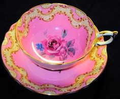 Paragon pink laurel lace tea cup and saucer victoria by tracie