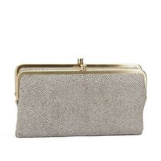 Meet Lauren; Hobo's iconic double-framed clutch wallet. She is famous for her carry-all attitude and total cool factor.