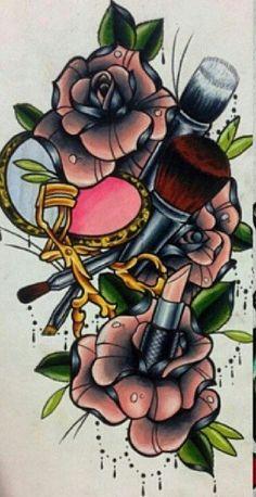 Love makeup, so deffff a tattoo I'm getting! Sweet Tattoos, Girly Tattoos, Dream Tattoos, Time Tattoos, Pretty Tattoos, Future Tattoos, Flower Tattoos, Body Art Tattoos, Awesome Tattoos